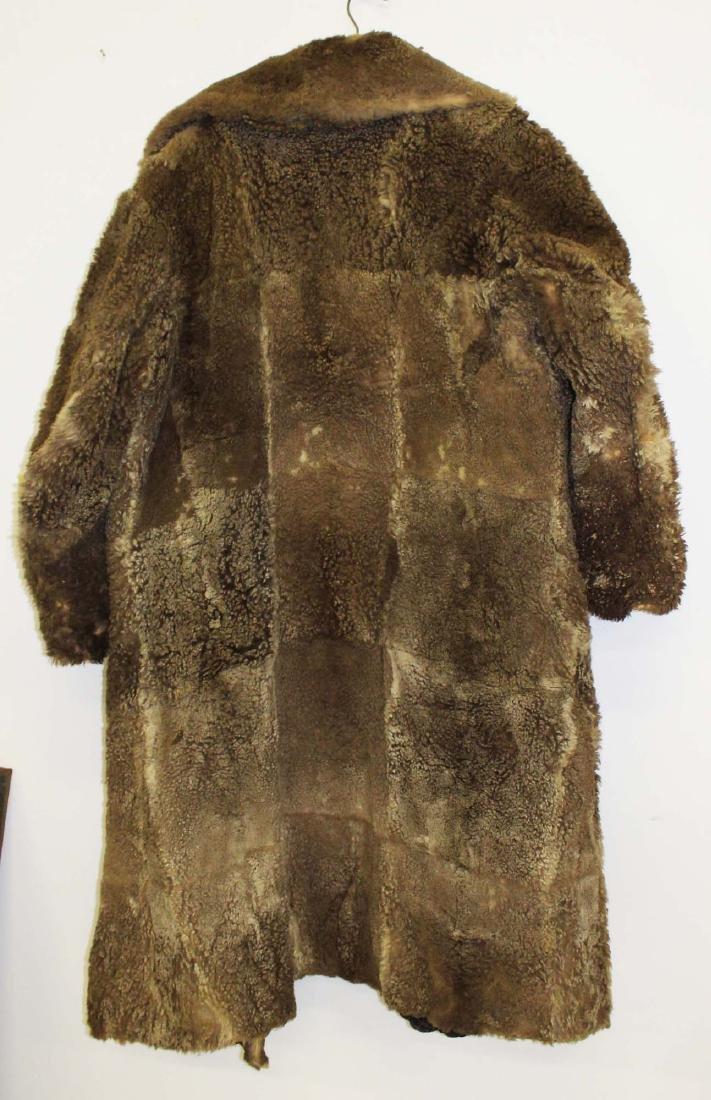 Vintage 1905 light colored buffalo robe coat - 7