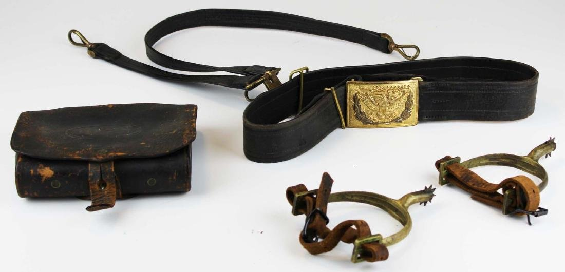 post Civil War US cartridge box, belt, spurs