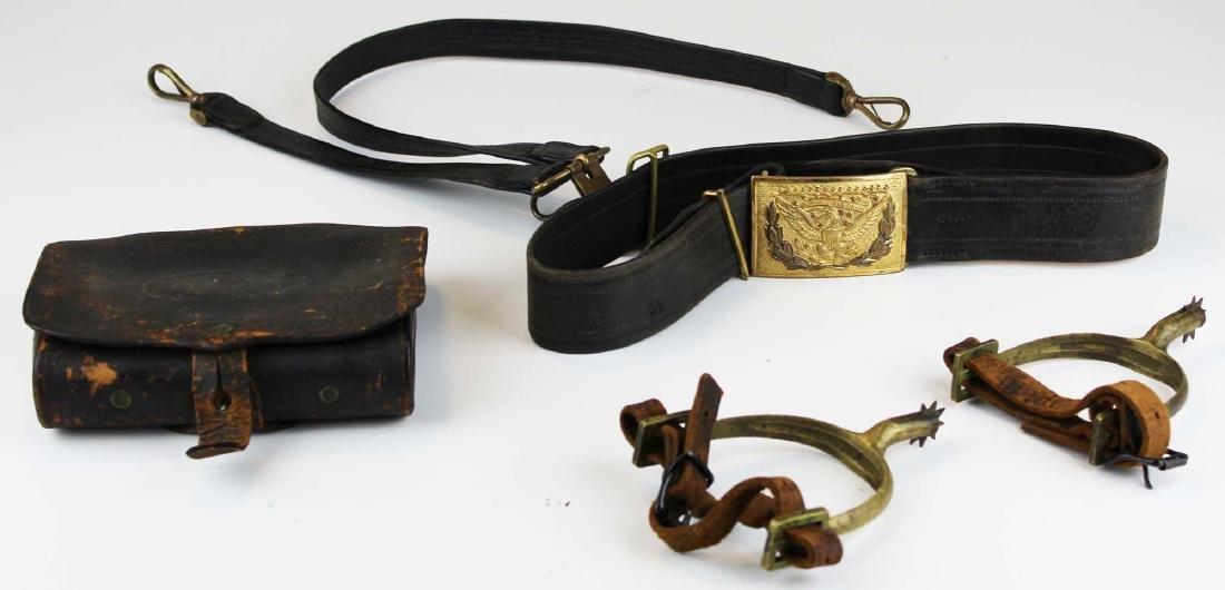 post Civil War US cartridge box, belt, spurs