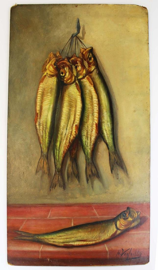 H Verlallie Oil on masonite of fish
