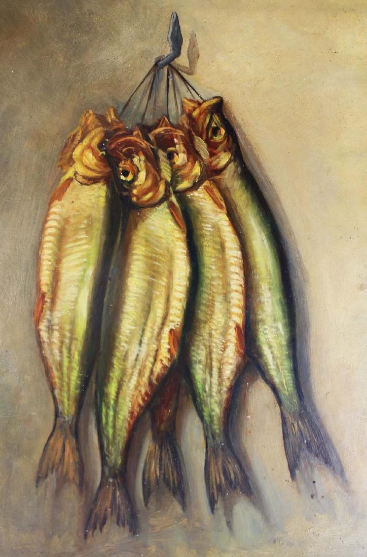 H Verlallie Oil on masonite of fish - 2
