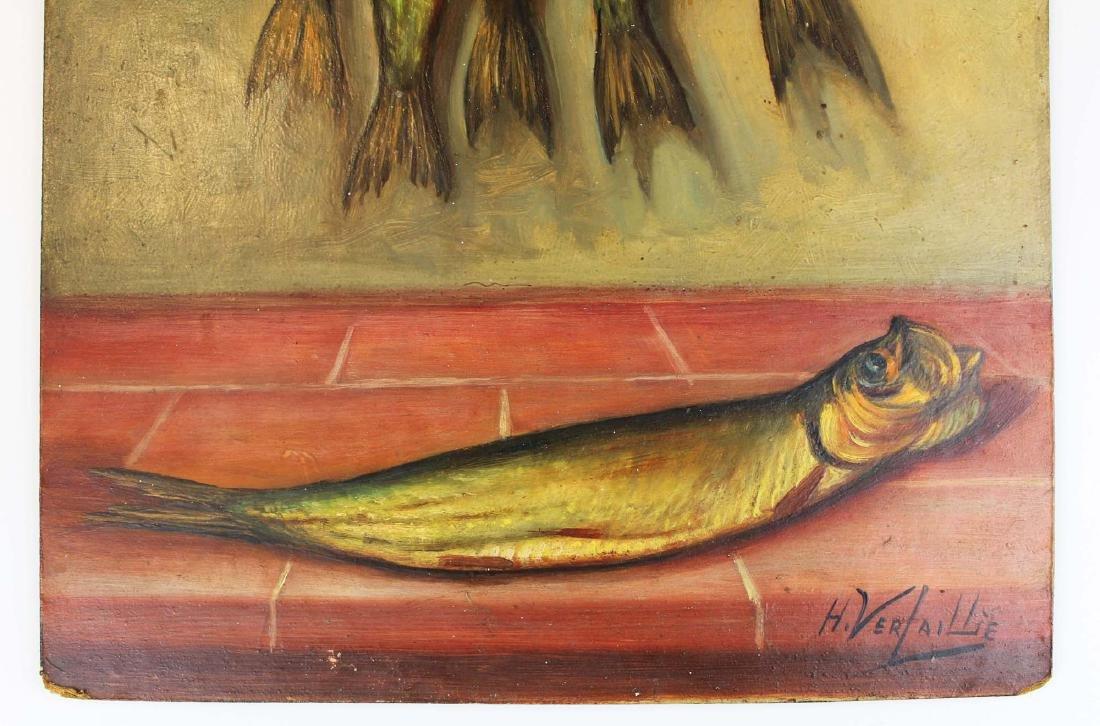 H Verlallie Oil on masonite of fish - 3