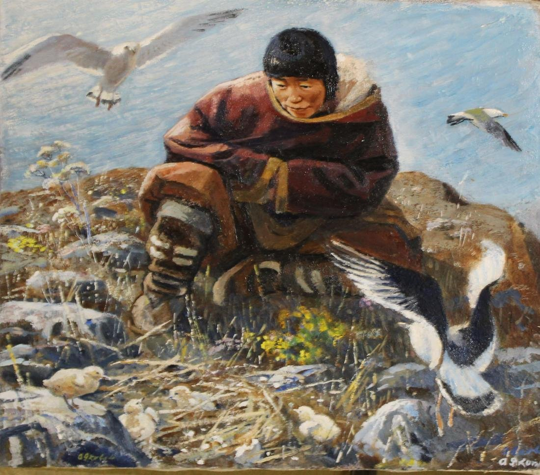 20th C Siberian oil of Native woman and Sea Birds