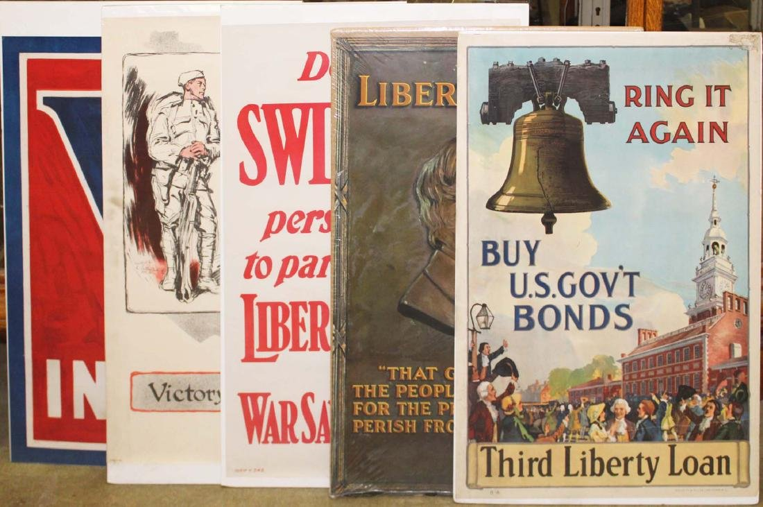 five WWI Liberty bond posters