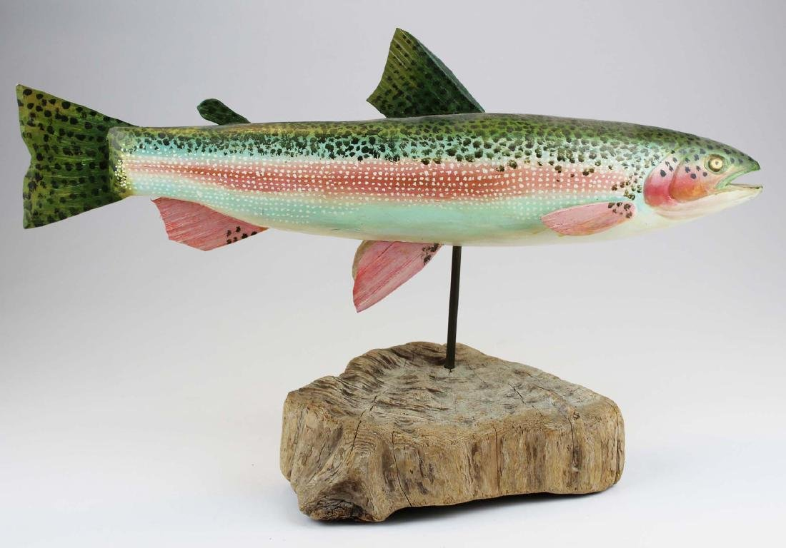 Carved and paint decorated rainbow trout