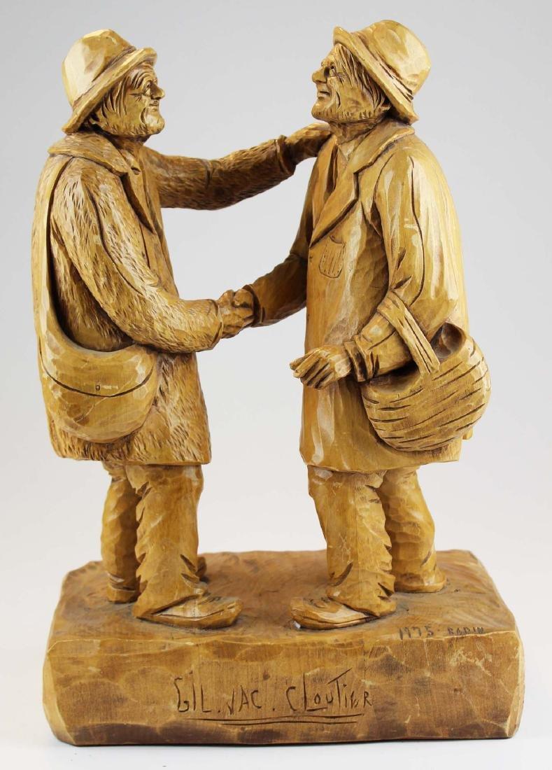 Canadian folk art carving two men