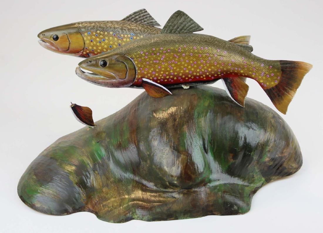 Albert Diem carving of two swimming brook trout - 2