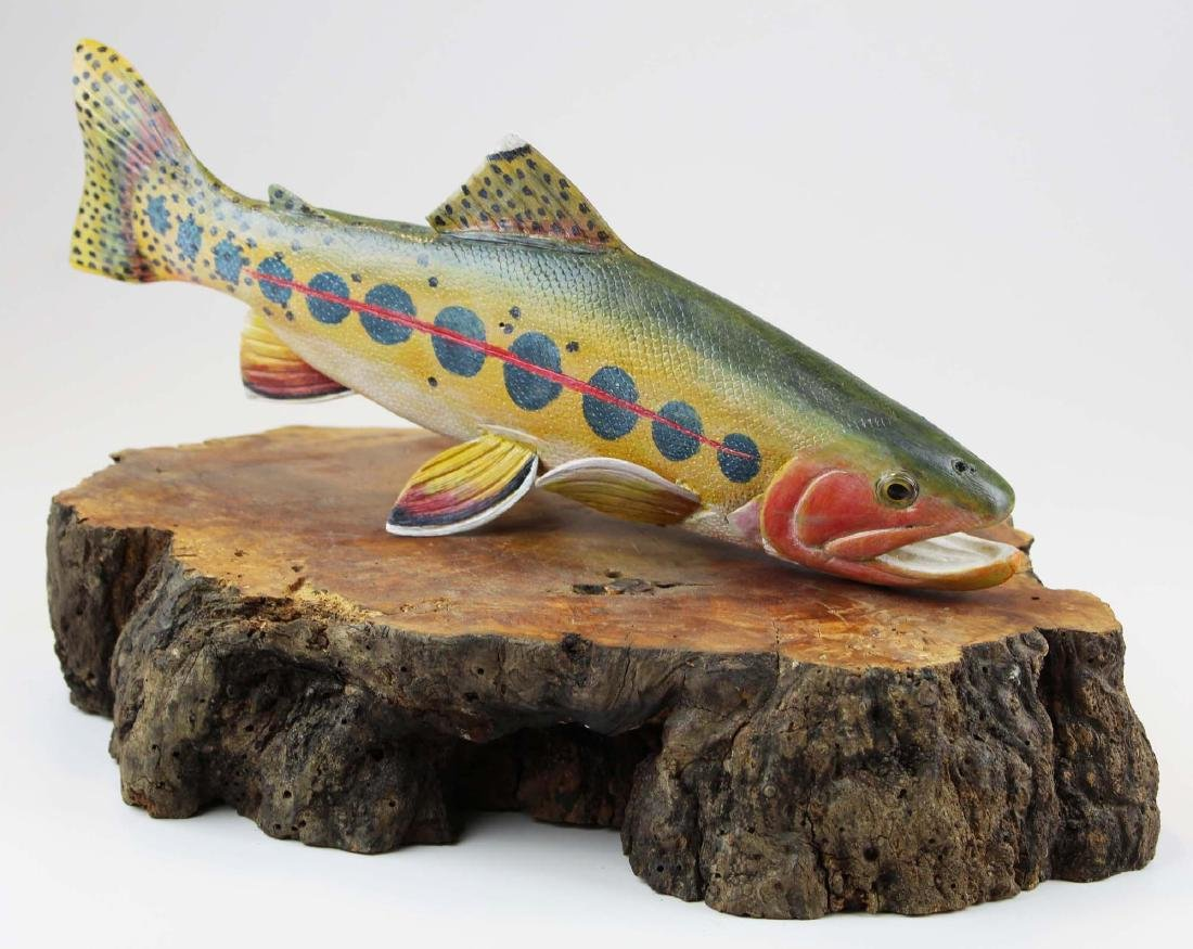 Folk art carved rainbow trout signed Biddle