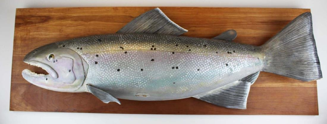 Atlantic salmon trophy painted decorated wall carving