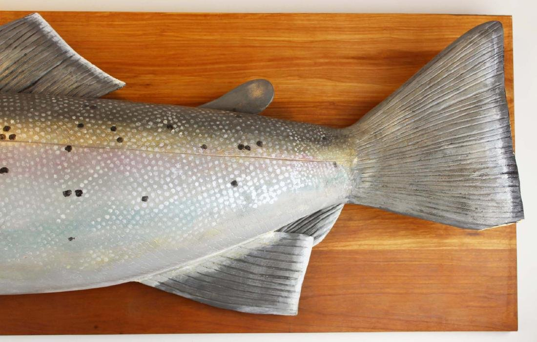 Atlantic salmon trophy painted decorated wall carving - 4