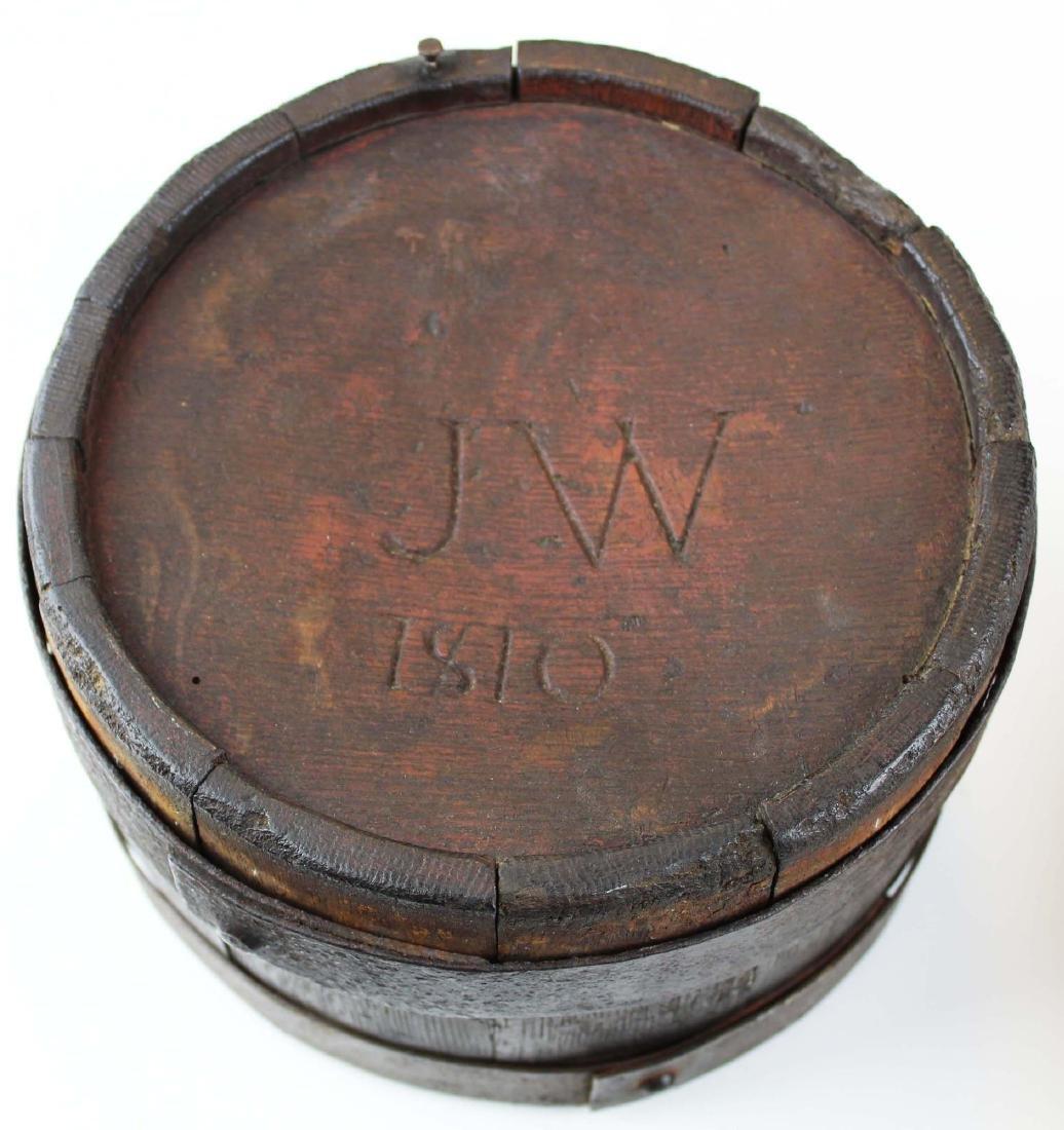 1810 wooden oak stave canteen - 7