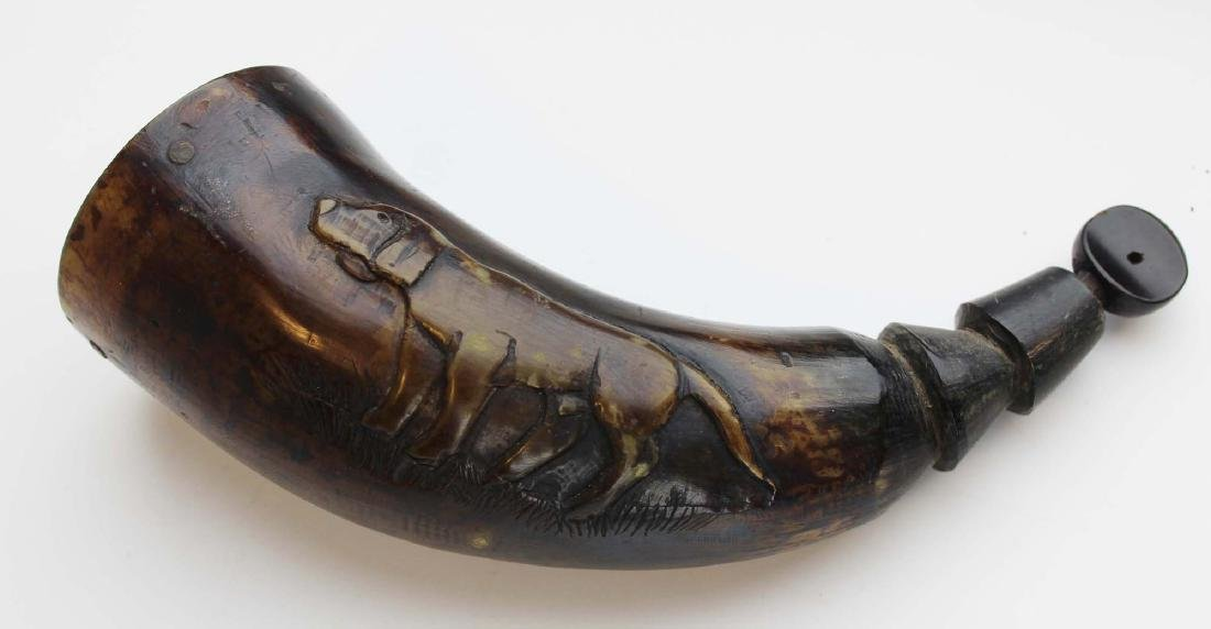 early 19th c carved hunting dog powder horn