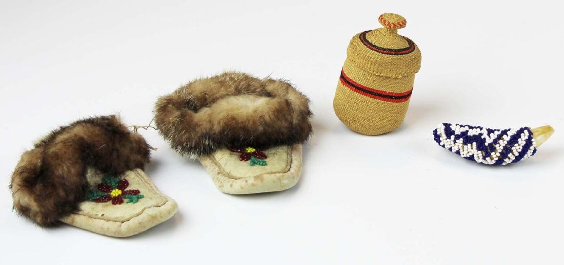 NW Coast basket, beaded baby moccasins