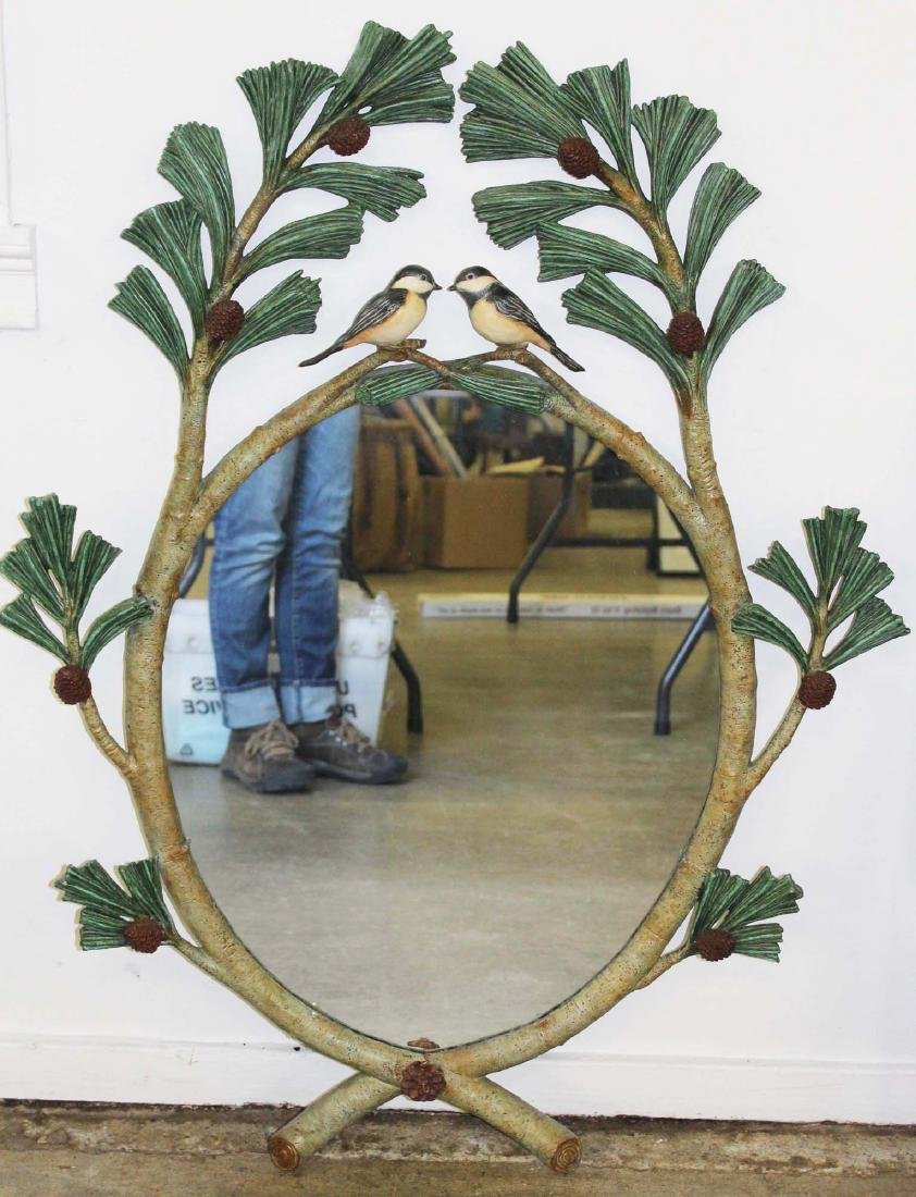 Carver's Guild Chickadees in Pine Boughs mirror