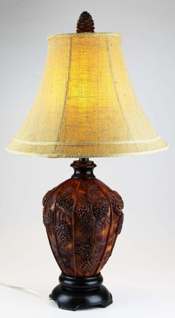 Adirondack lodge style pine cone table lamp
