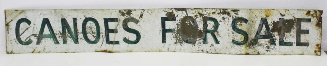 "vintage painted steel ""Canoes For Sale"" sign"
