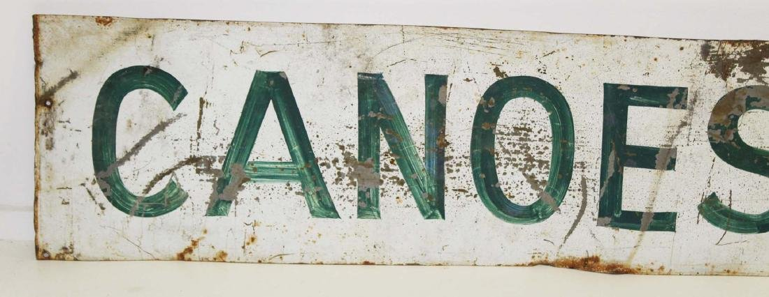 "vintage painted steel ""Canoes For Sale"" sign - 2"