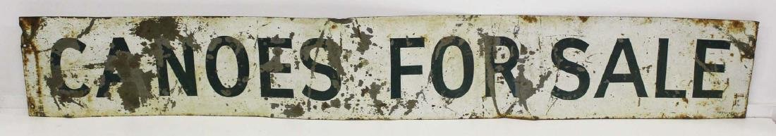 "vintage painted steel ""Canoes For Sale"" sign - 4"