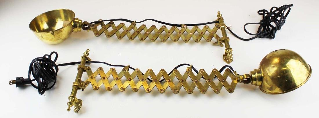 pair of brass and copper accordion bracket lamps - 3