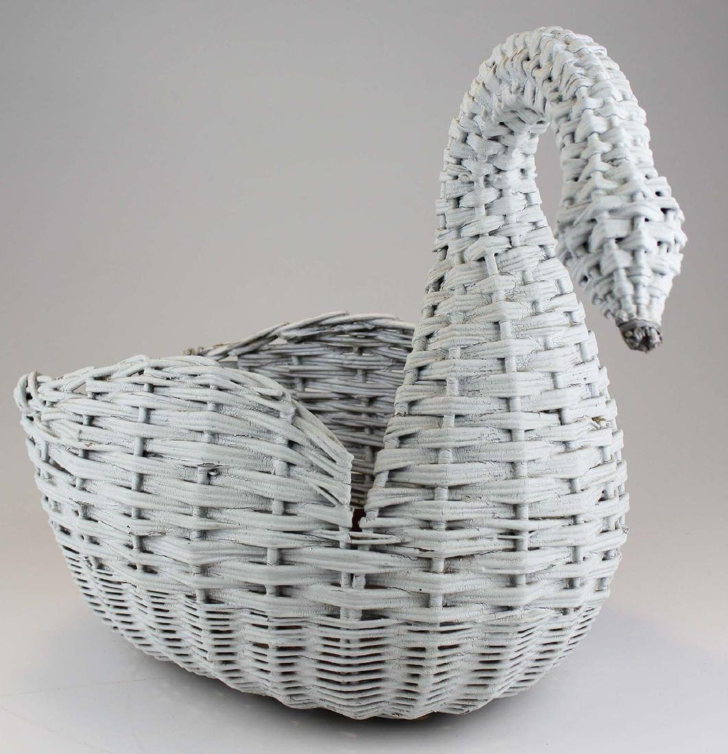 ca. 1920 willow reed wicker swan planter