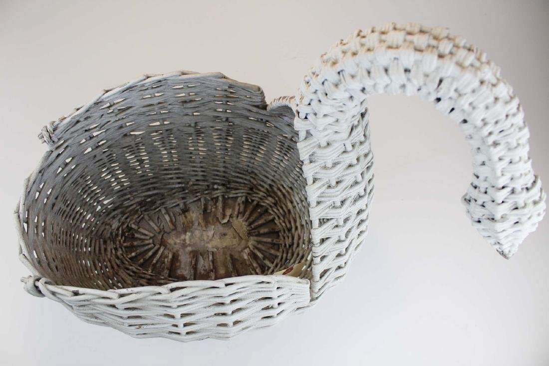 ca. 1920 willow reed wicker swan planter - 3