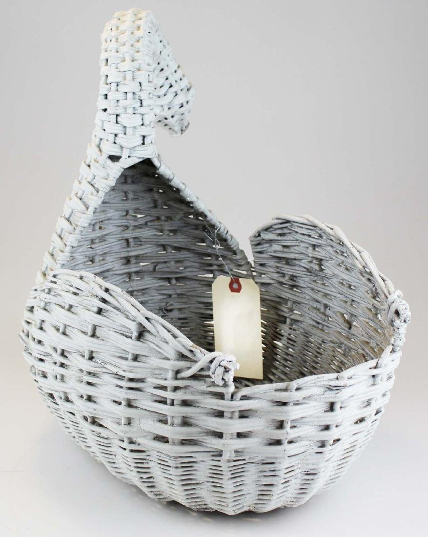 ca. 1920 willow reed wicker swan planter - 4