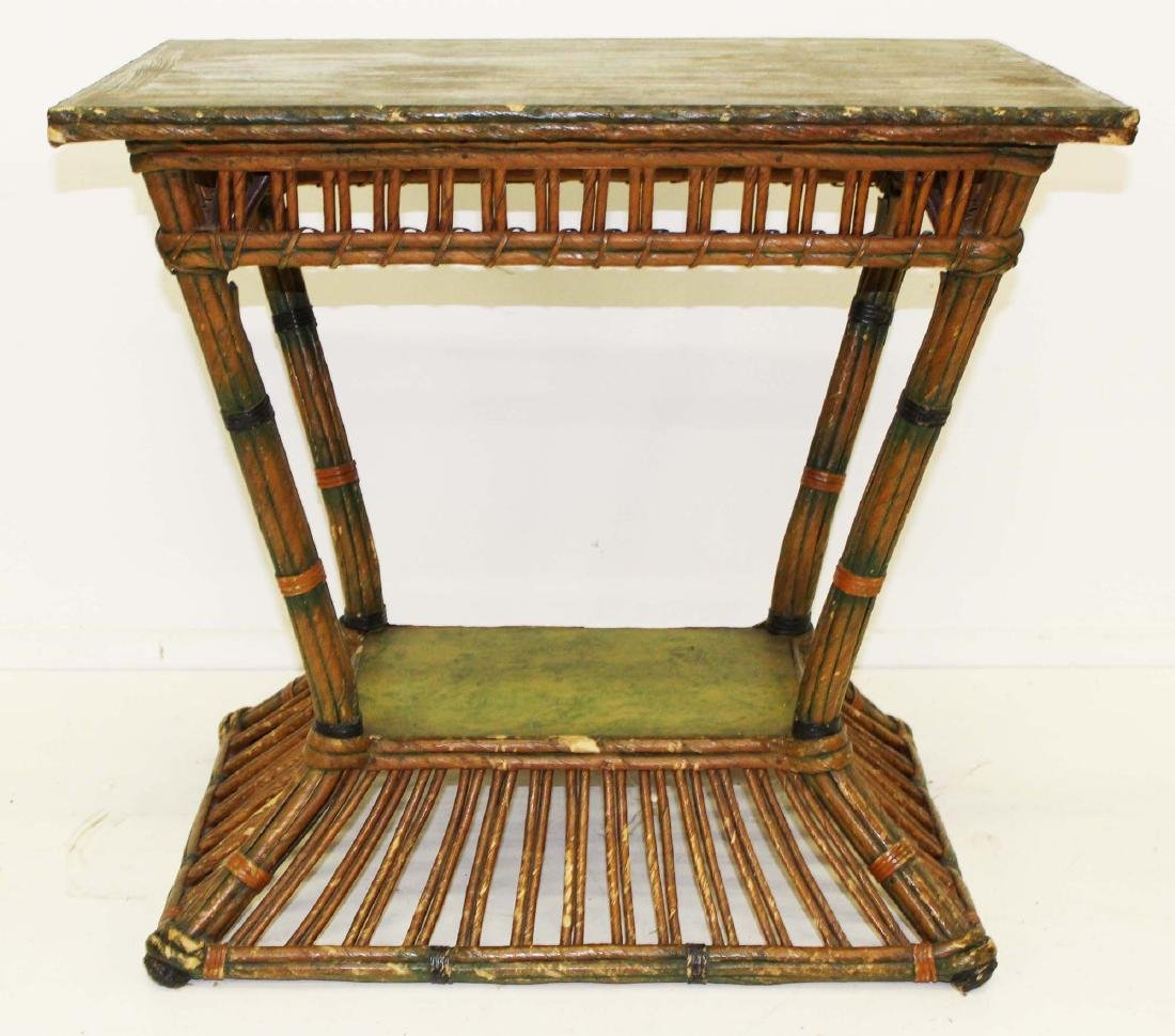 1920's rattan style wicker 2 tier parlor table