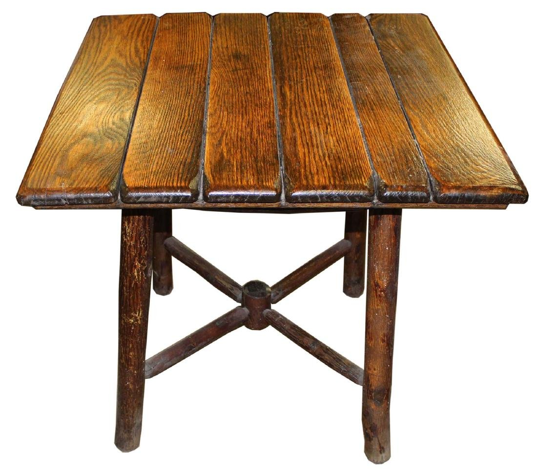 Old Hickory log base Adirondack camp table