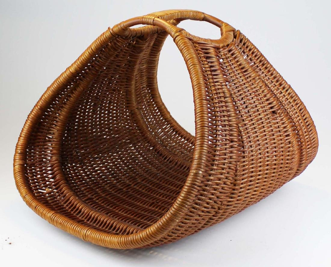 woven rattan basket weave wicker log carrier