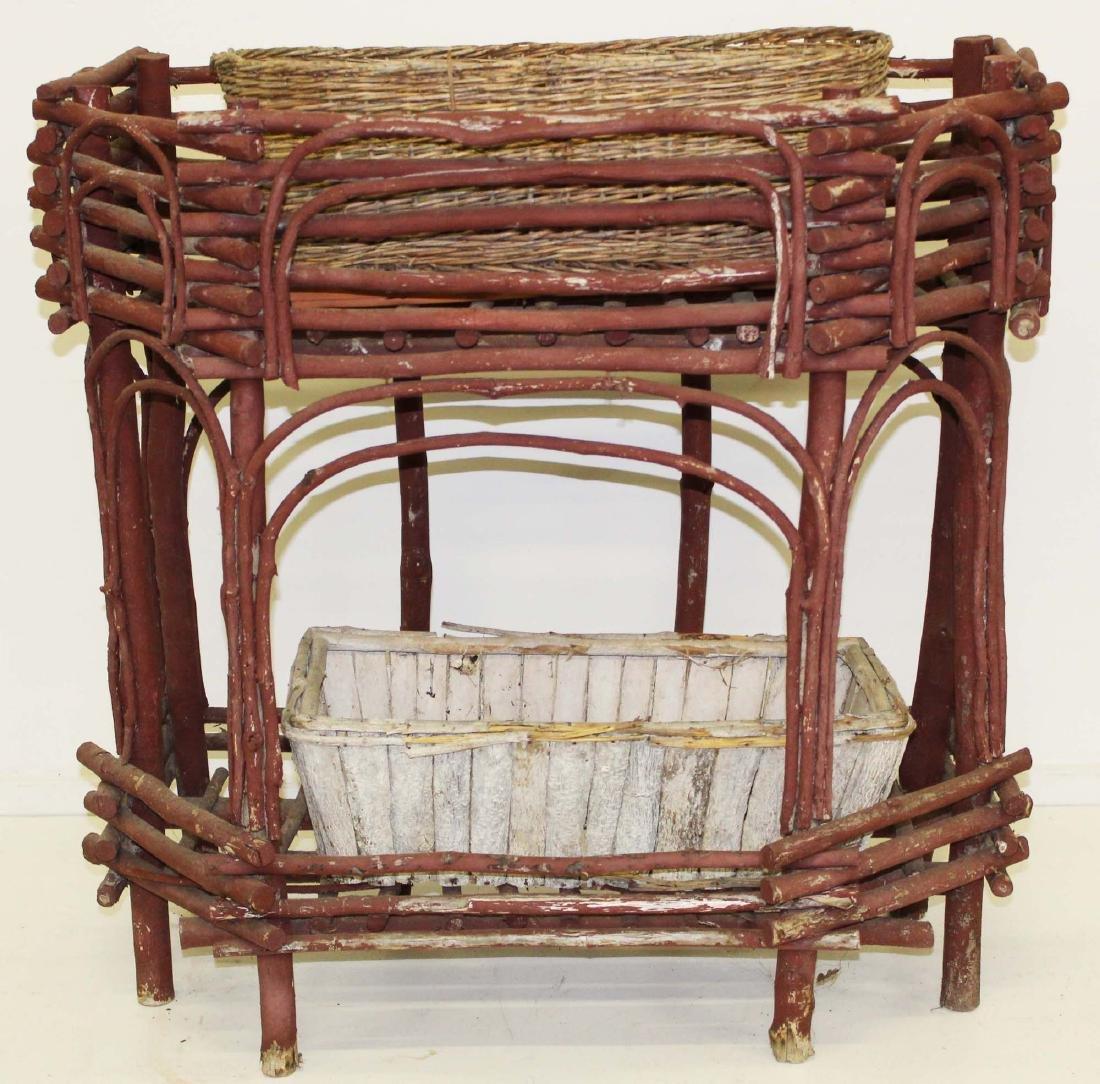 Adirondack style bent twig planter box stand