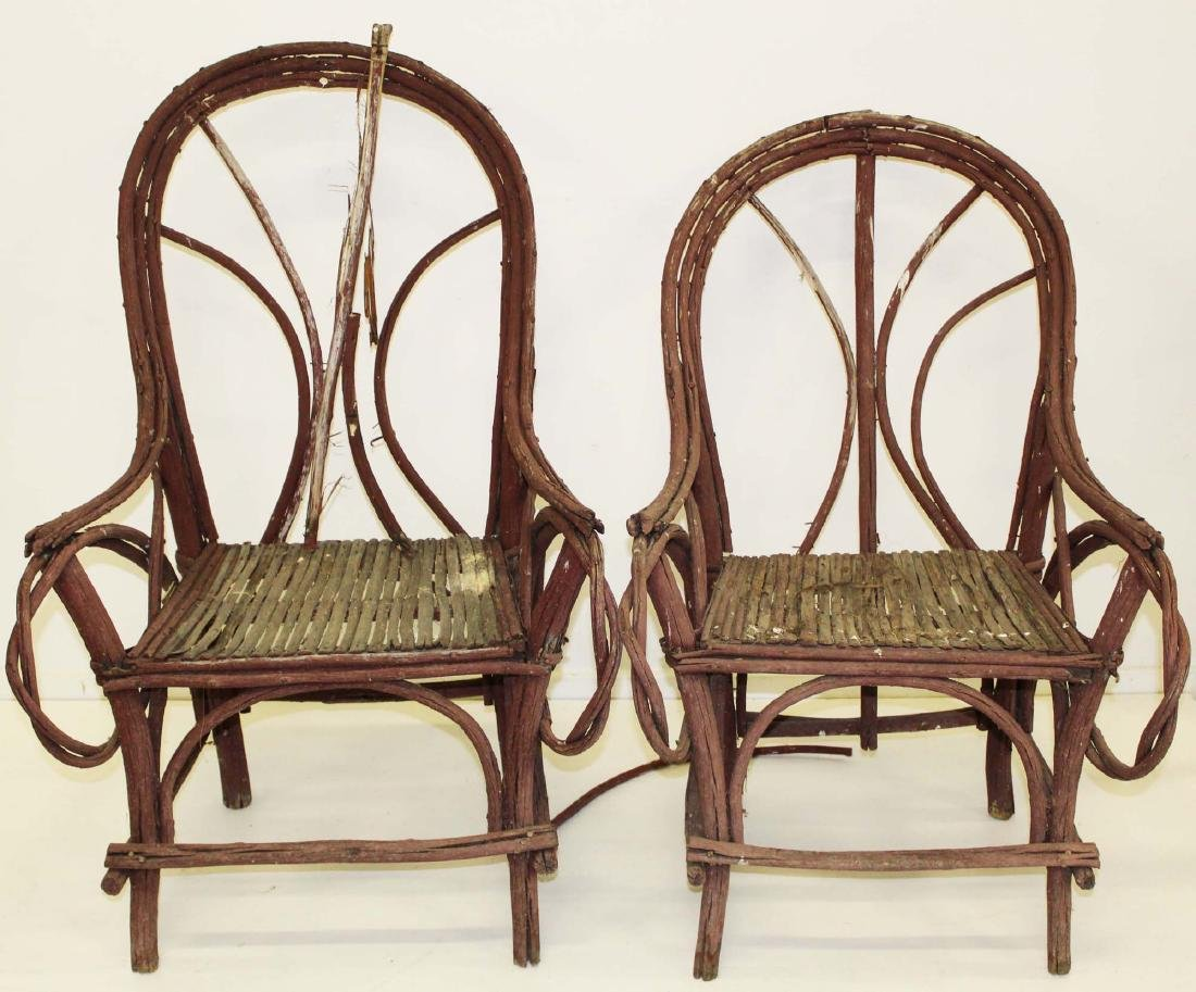 pair of Adirondack style bent twig armchairs