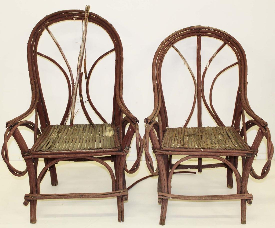 pair of Adirondack style bent twig armchairs