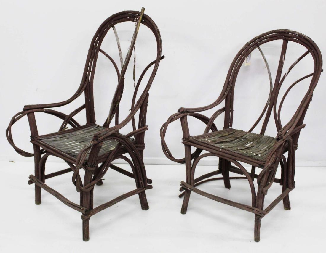 pair of Adirondack style bent twig armchairs - 2