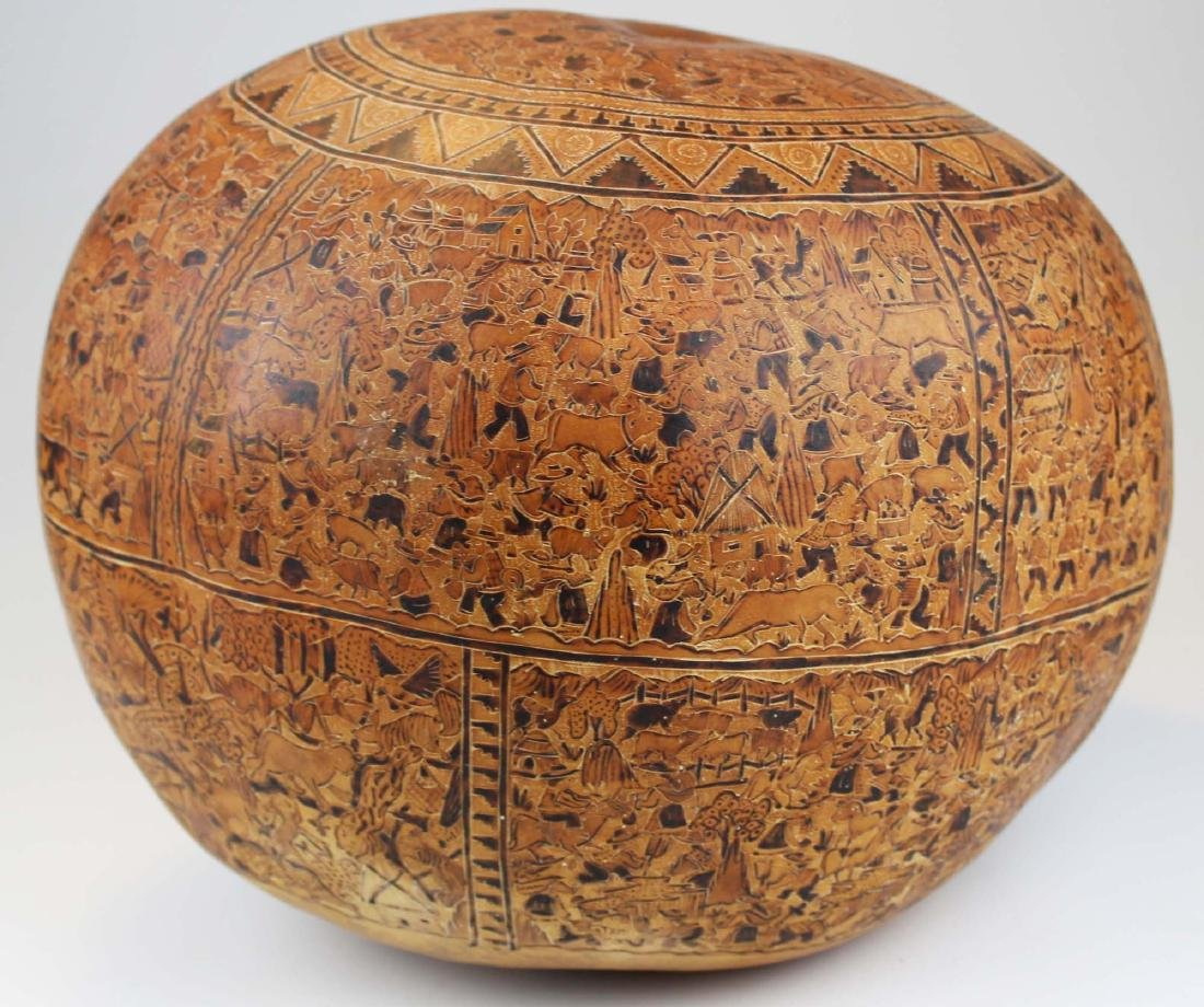 South American incised and decorated gourd