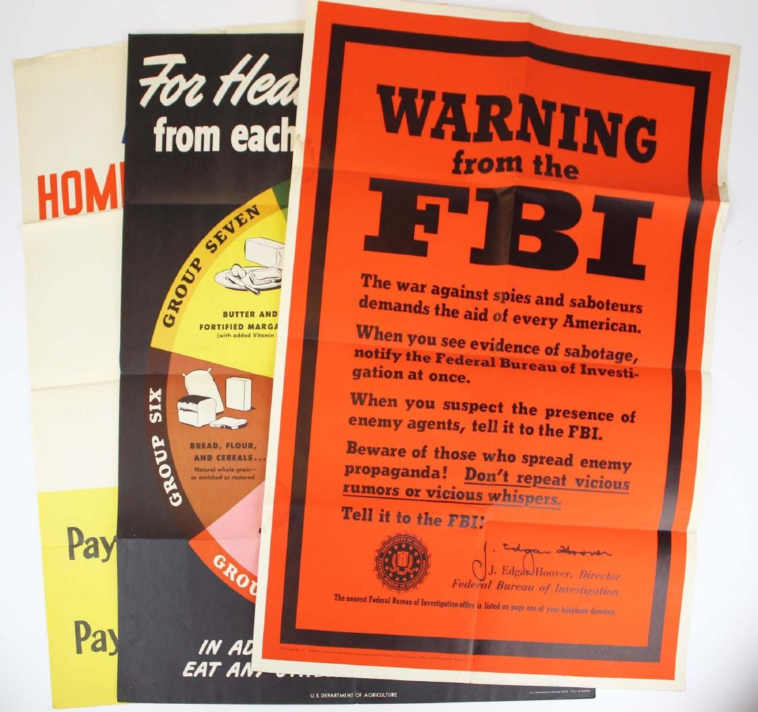 three WWII home front propaganda posters