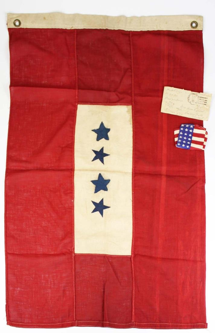 WWI US blue star service flag window banner
