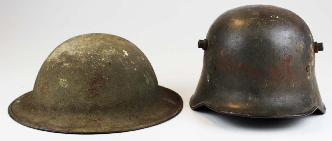 WWI US doughboy helmet, German helmet