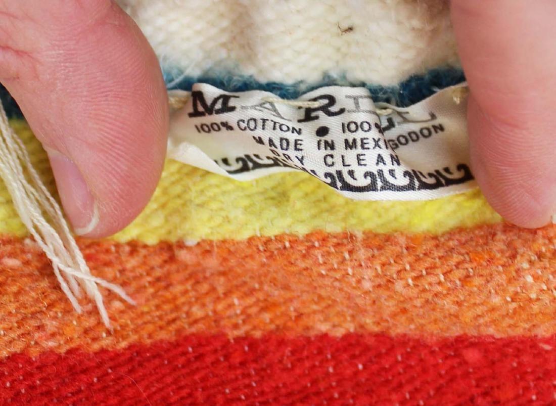 mid 20th c Saltillo woven multicolored blanket - 4