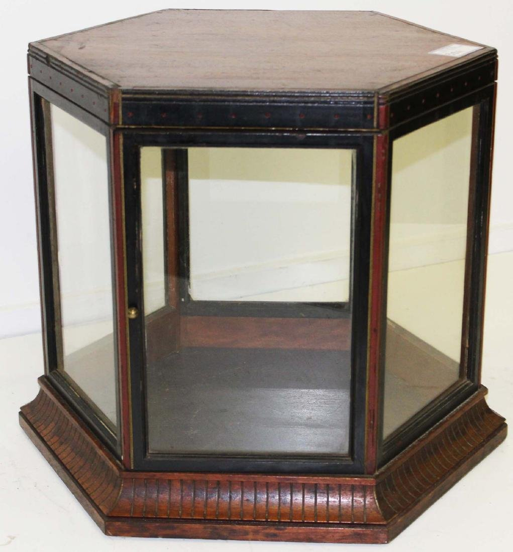 Victorian walnut hexagonal display case