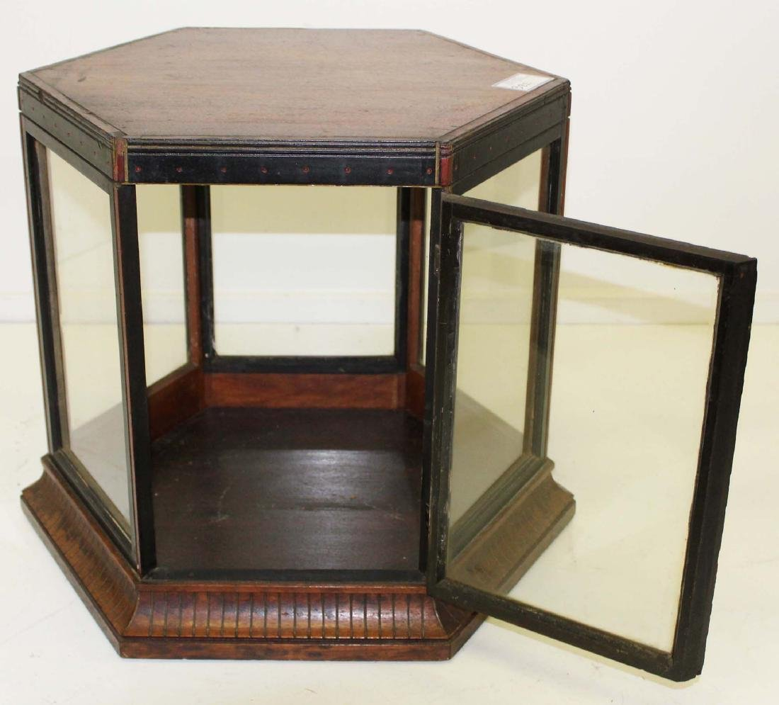 Victorian walnut hexagonal display case - 2