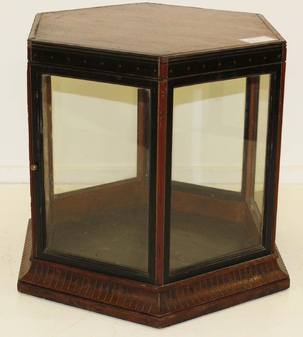 Victorian walnut hexagonal display case - 6