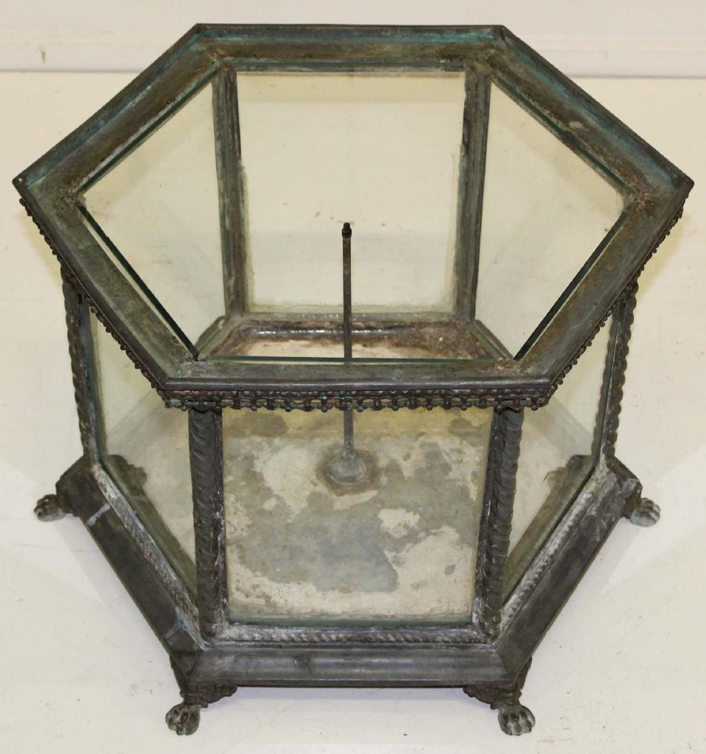 Victorian hexagonal zinc terrarium on claw feet