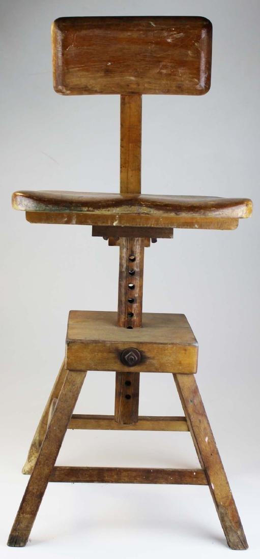 1940's maple adjustable draftsman's stool