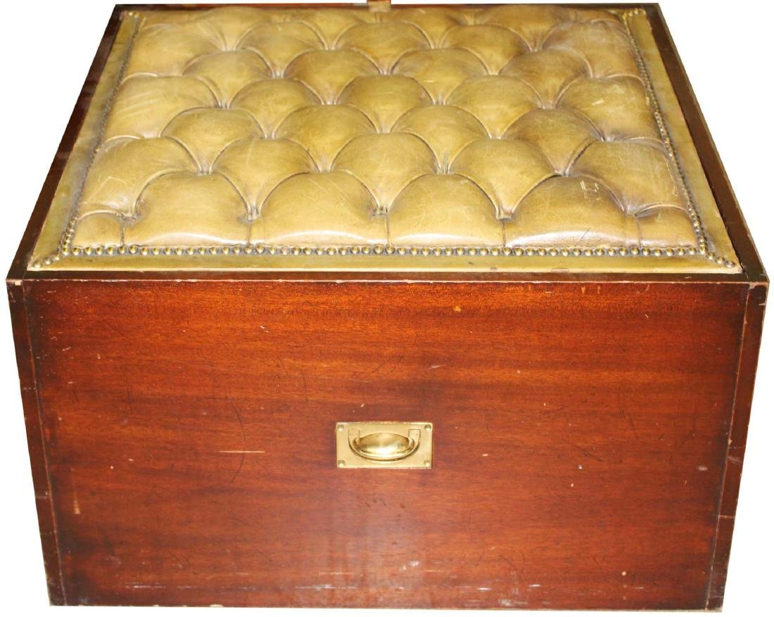 mahogany campaign style tufted leather ottoman