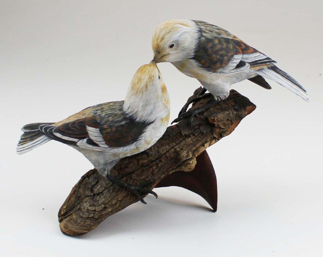 Pair of carved & Painted song birds By Jim Maas