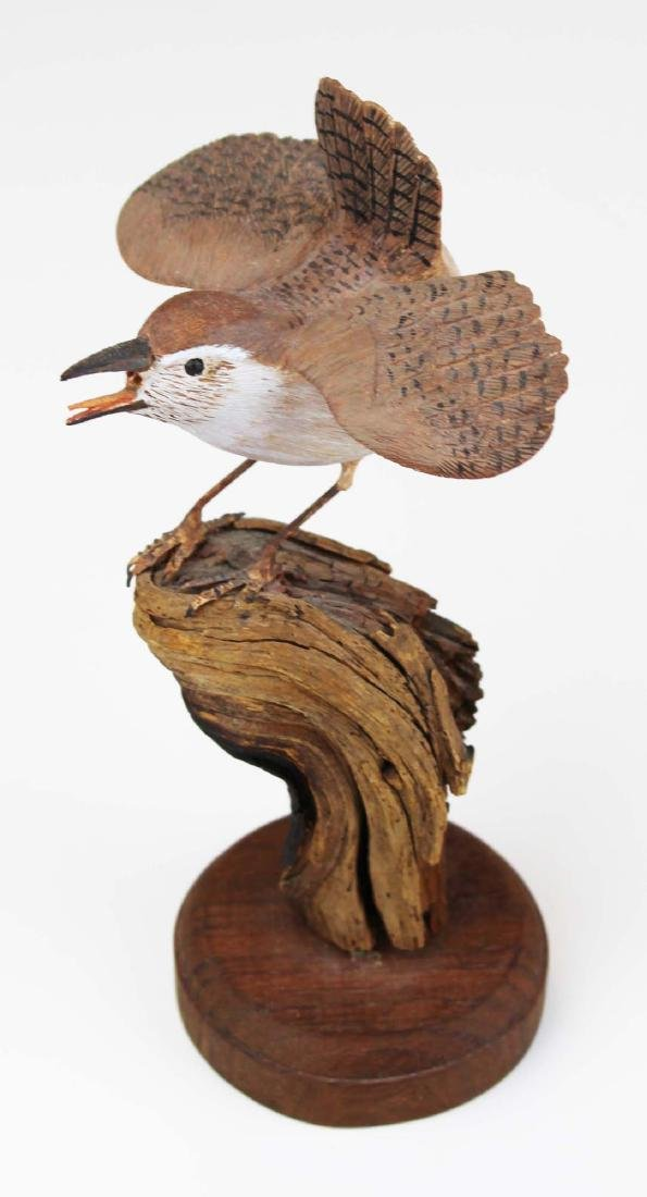 Carved and paint decorated Wren