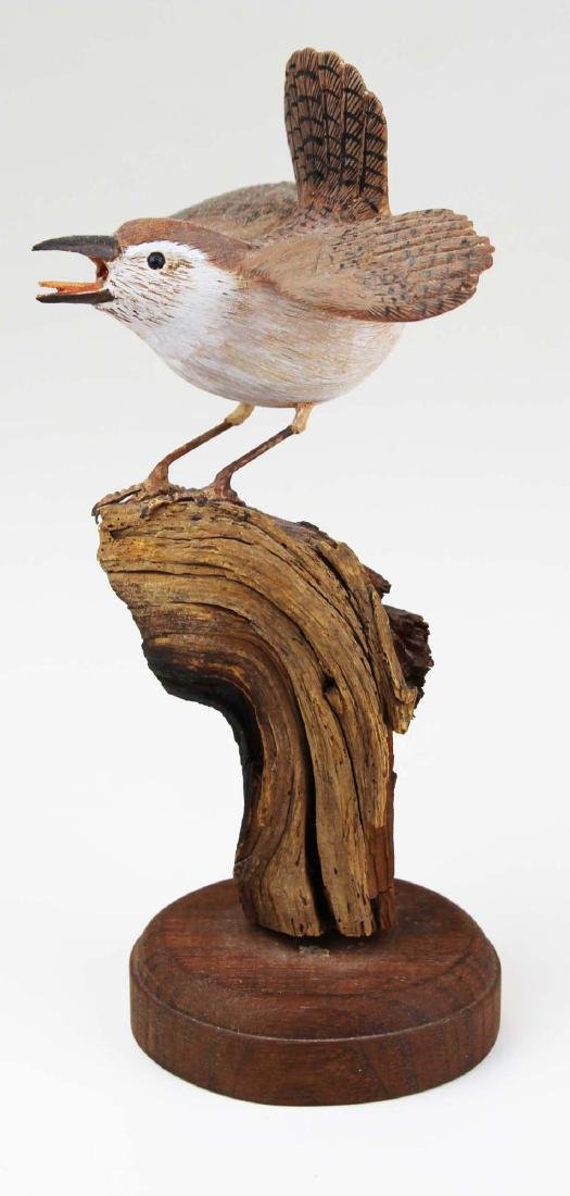 Carved and paint decorated Wren - 2