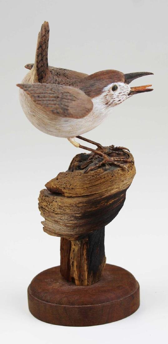 Carved and paint decorated Wren - 4