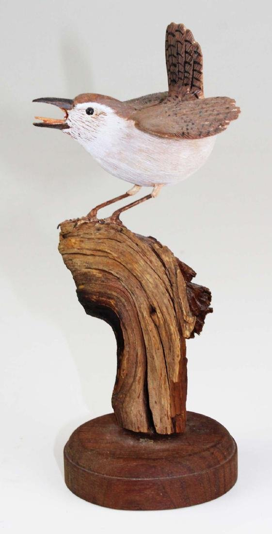 Carved and paint decorated Wren - 7