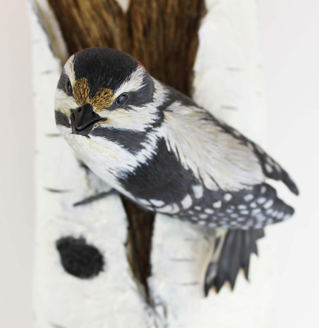 Two carved & painted song birds on birch log - 2